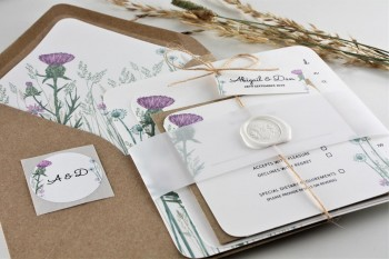 NEW - WILD THISTLE WEDDING INVITATIONS