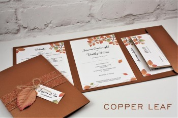 Autumn wedding invitation - pocketfold