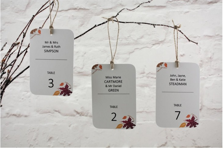 Autumn Fall Table Escort Tags