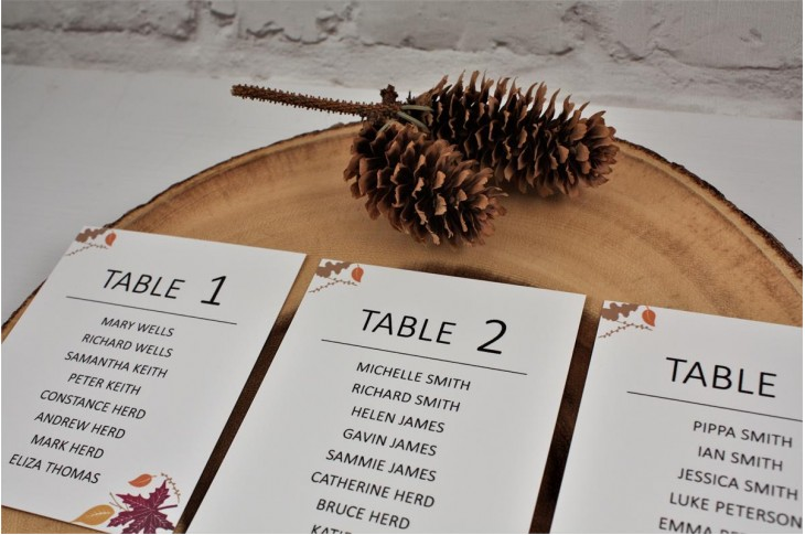Autumn Heart Table Plan Cards
