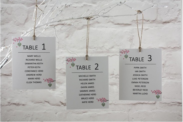 Cherry Blossom Table Plan Cards