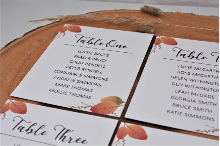 Copper Leaf Table Plan Cards
