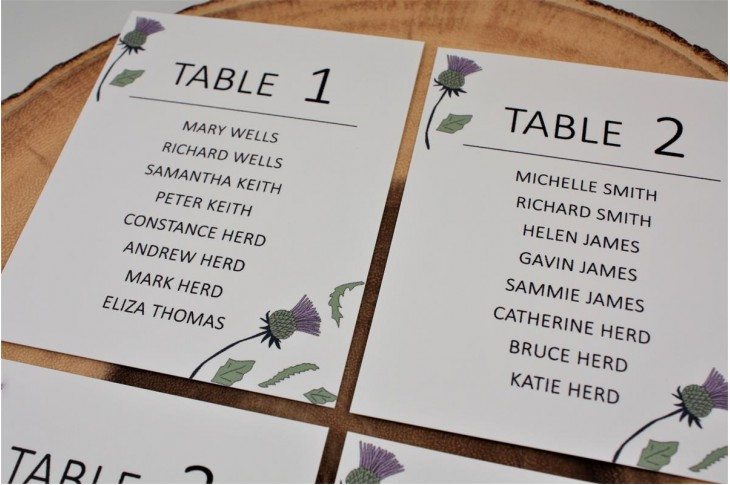Thistle Heart Table Plan Cards