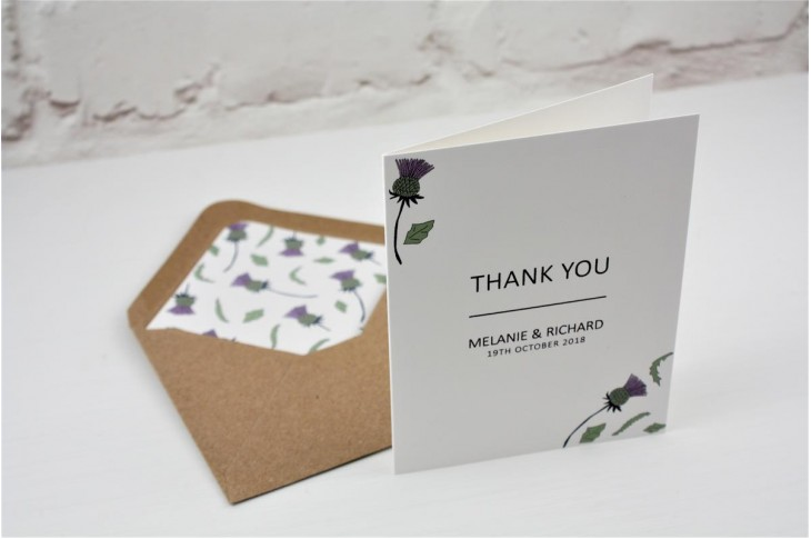 Thistle Heart Thank You Card