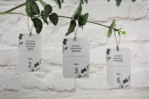 Thistle Heart Table Escort Tags
