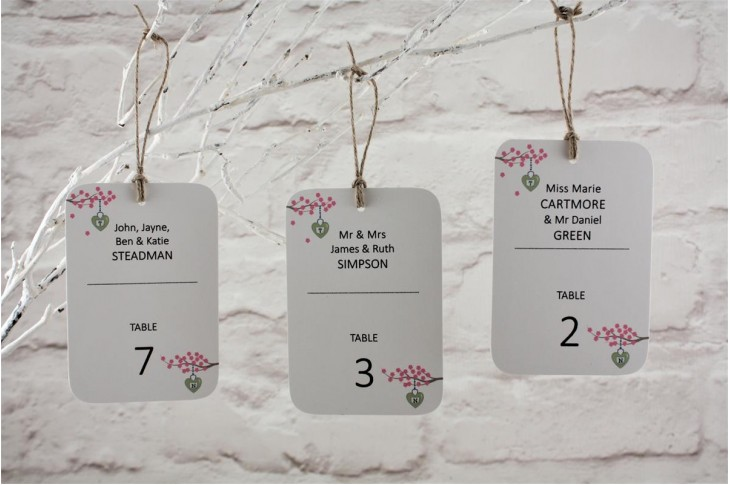 Cherry Blossom Table Escort Tags