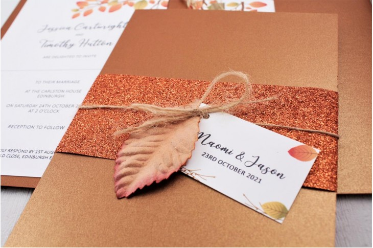 Copper Leaf Wedding Invitation