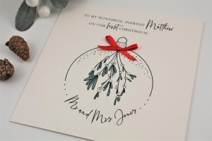 Personalised Christmas card Newly Weds Husband