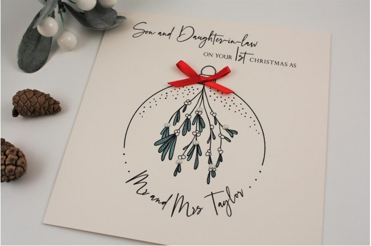 Personalised Daughter or Son 1st married Christmas card