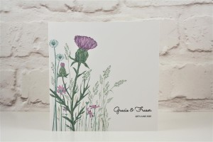 Wild Thistle Folded Wedding Invitation