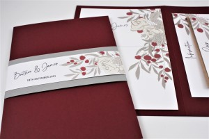 Warm Berry Pocketfold Wedding Invitation