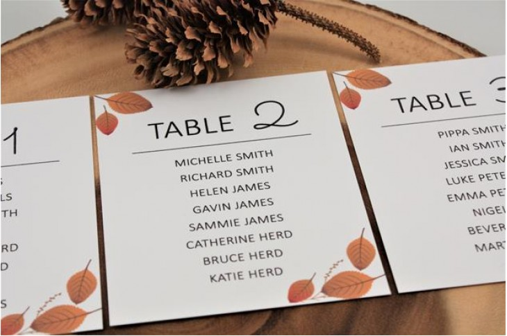 Woodside Table Plan Cards